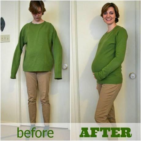 pull grossesse Transformez un pull trop grand en pull de grossesse