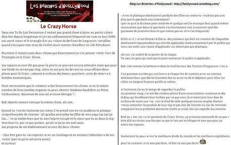 crazy horse critique vu par Hottlywood du blog les beatches d'Hotllywood
