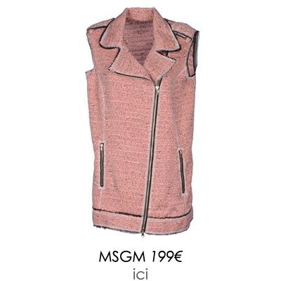 perfecto sans manches rose msgm