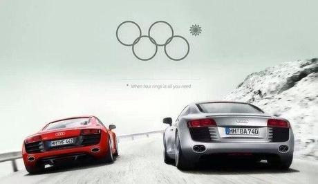 Audi surfe sur les anneaux olympiques #sotchi #jo