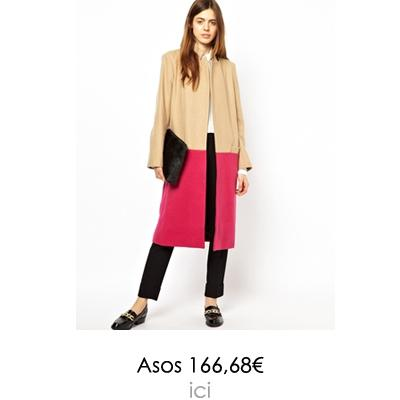 manteau rose colorblock asos