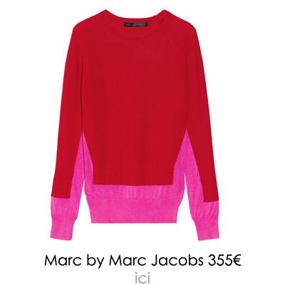 pull colorblock rose et rouge