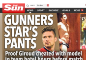 Photographié quasi dans chambre train tromper femme, footballeur Olivier Giroud s'excuse