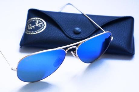 ray ban aviator miroir bleu homme