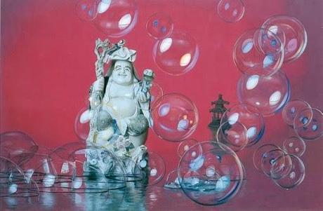 oeuvre d'art de shu yong représenatnt un bouddha sur fond rouge avec de bulles en premier plan