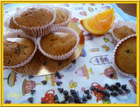 Muffins à l'orange et pépites de chocolat.