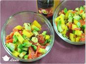 Salade fruitée-salée truite fumée, avocat mangue