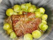 Rôti porc cocotte, choux bruxelles frais