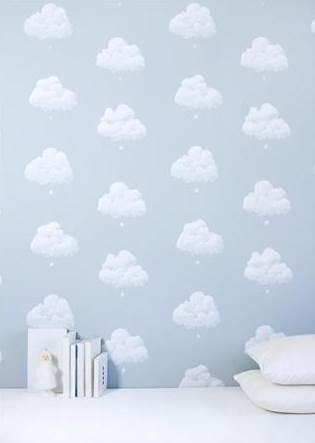 Papier peint nuages de coton bleu fumée