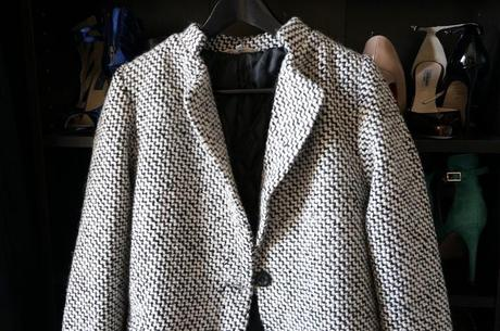 Manteau She Inside SheInside - Black & White Long Sleeve Oversize Houndstooth Coat (3)
