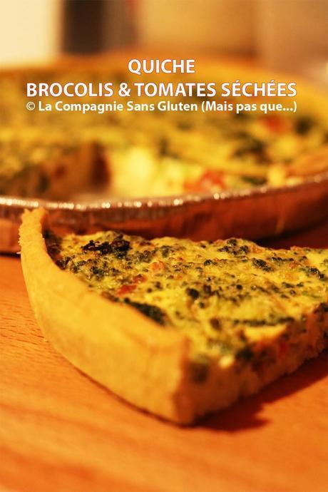 Quiche aux brocolis et tomates séchées, sans gluten, sans lait