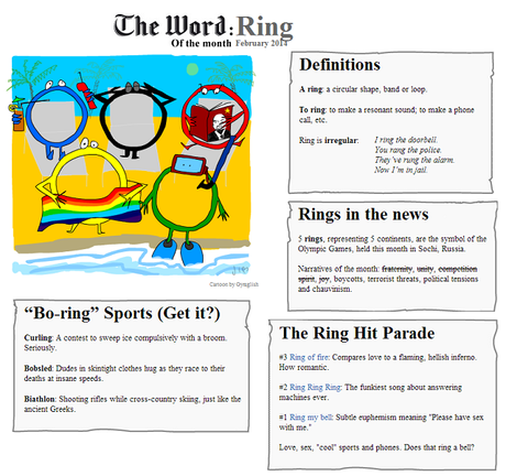 The Word of the Month (FEBRUARY 2014) : Ring