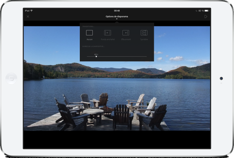 Adobe Lightroom mobile iPad diaporama