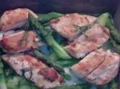 Blancs poulet, asperges vertes, l'estragon citron kaffir