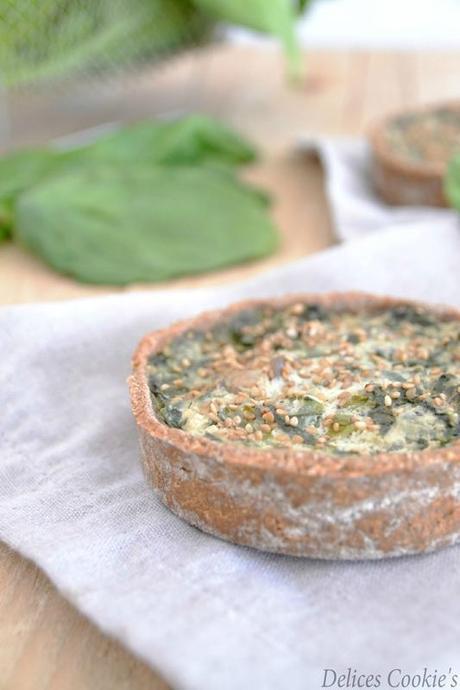 tarte épinards pleurotes tofu vegan ig bas