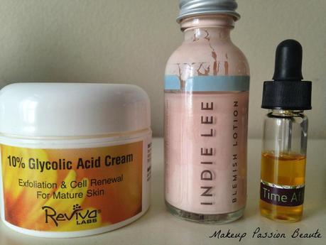 Mes solutions efficaces du moment pour l'acné ; Reviva Labs, Indie Lee, r.l Linden..