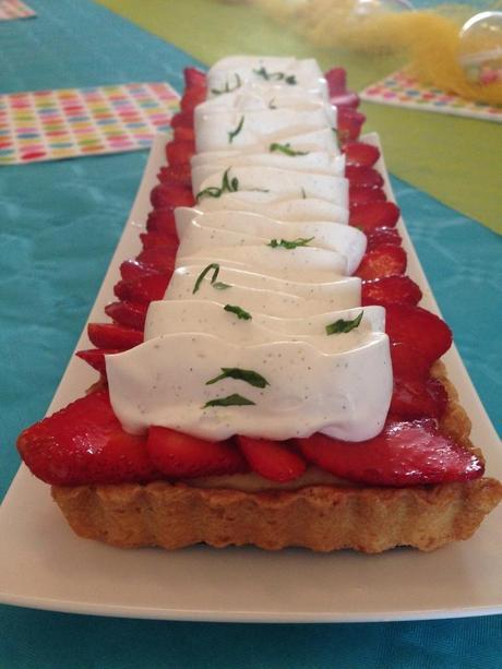 Tarte fraises,vanille et basilic