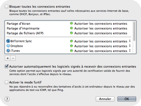 Coupe feu OS X Mavericks