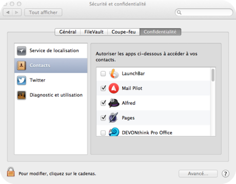 Contacts Sécurité Mac Aficionados