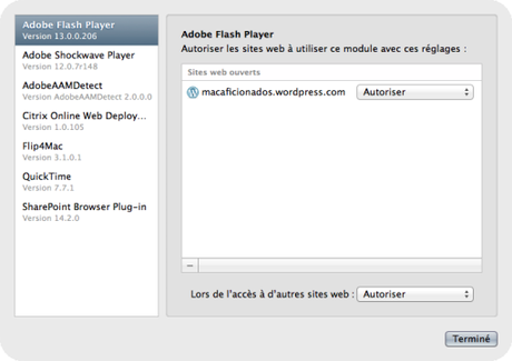Autoriser Flash player