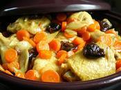Tajine poulet carottes, pruneaux échalotes