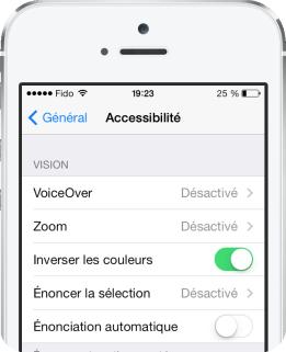 Inverser couleurs iOS 7