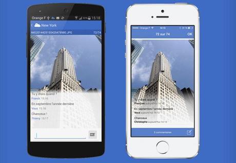 CloodStream, une App qui permet de partager et commenter les photos de votre Cloud d'Orange avec vos contacts