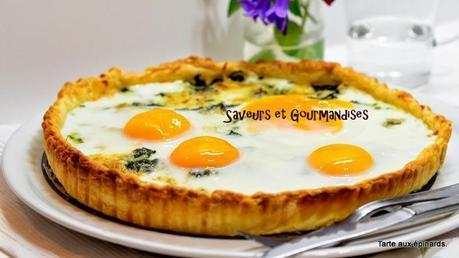 Tarte aux Oeufs  sur lit d'Épinards et Fromage de Chèvre.