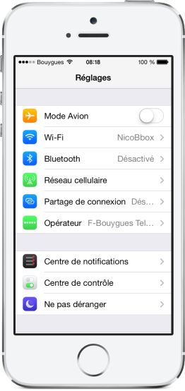 Centre de notifications general iOS