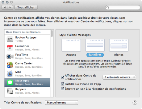 Centre de notifications Mac Aficionados