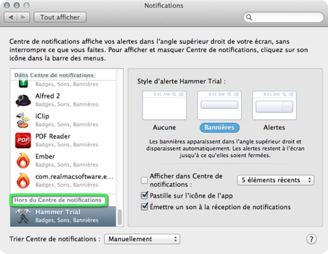 Centre notifications OS X Mavericks