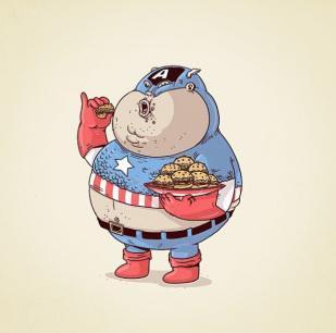 L'obésité chez les super-héros par Alex Solis