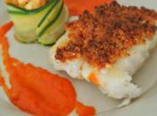 Cabillaud crumble Chorizo, Coulis poivron petite Fondue courgettes personnes)