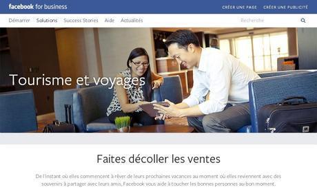 Facebook Business tourisme et voyages