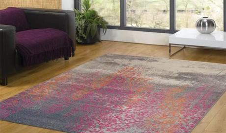Tapis gris orange et rose