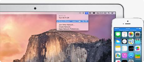 Mac et iOS hotspot OS X Yosemite