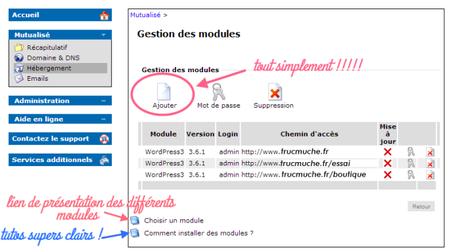 gestion des modules