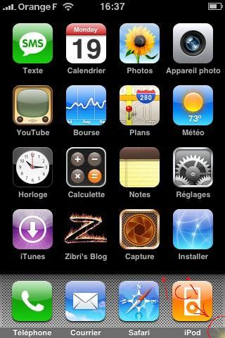 Application Dock iPhone