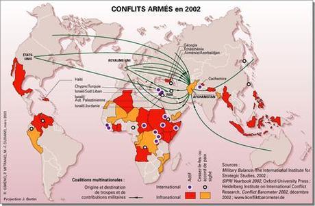 Carte conflits armés dans le Monde 2002