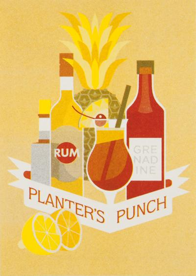 PLANTER'S PUNCH 4 cl brown rum 1 cl grenadine syrup 2 cl lemon juice 4 cl pineapple juice 8 cl orange juice 2 dashes Angostura bitters