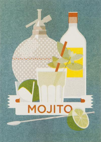 MOJITO 4 cl white rum 3 cl lime juice 2 tsp white sugar 3 mint sprigs soda water