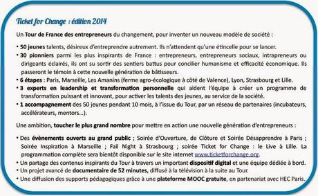 Ticket For Change dévoile les 50 participants de sa 1ère édition 2014 !