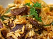 Salade pâtes Poivrons, chorizo champignons grillés four
