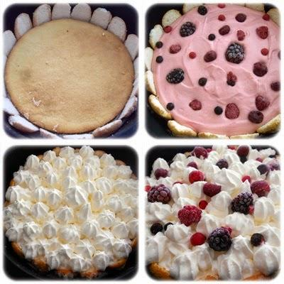 L'estival : mi charlotte mi bavarois aux fruits rouges & chantilly
