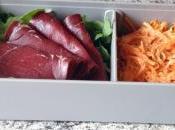 Bento carottes râpées, roquette, viande grisons