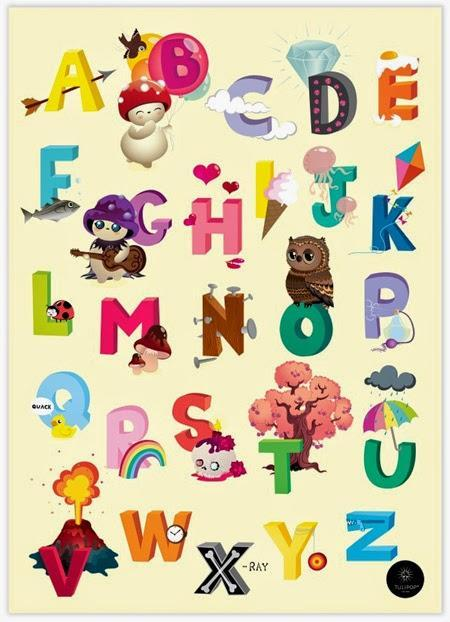 White ABC Poster in English © Tulipop