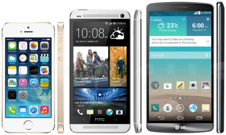 iPhone 5S HtC one LG 3G3