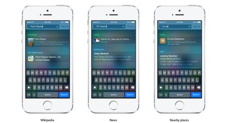 Spotlight iOS 8 recherches