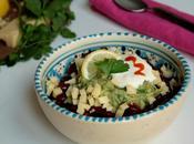 Salade d'haricots rouges, sauce tomates pimentées guacamole