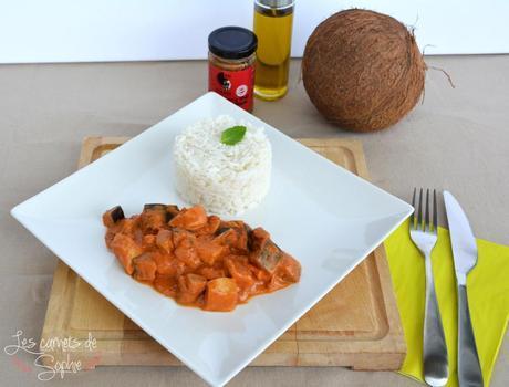 Poulet au curry rouge et aux aubergines